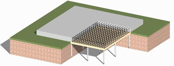 Малозаглубленный свайно-плитный фундамент
