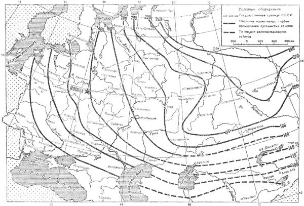 Глубина промерзания карта