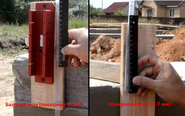 Измерение разности высот углов фундамента