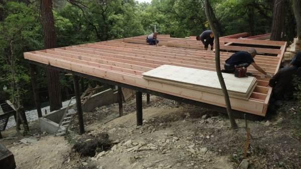 Фундамент для каркасного дома на склоне