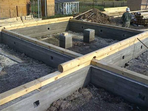 Ленточный фундамент для дома из бревна