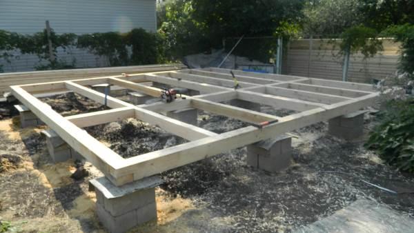 Столбчатый фундамент из блоков для каркасного дома