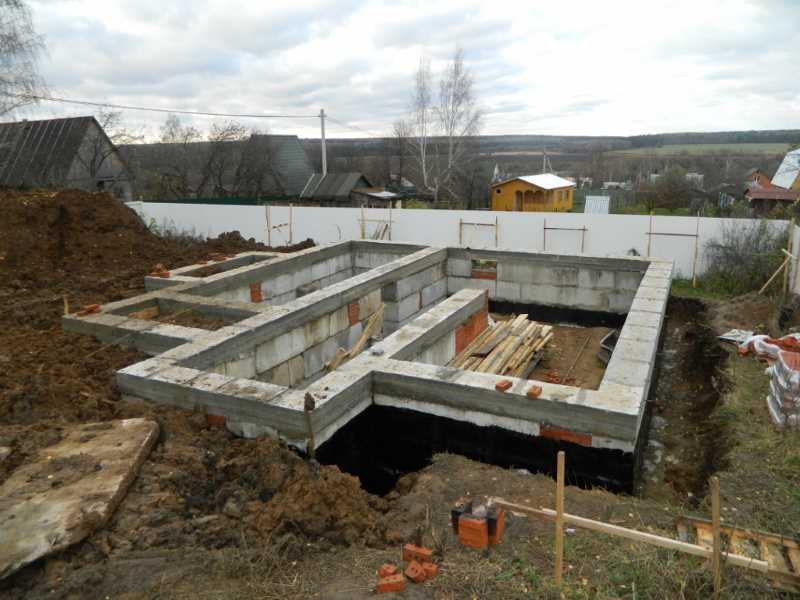 Foundation for a house with a basement