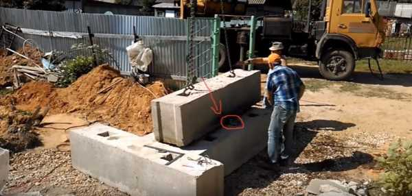 Монтаж лома под фундаментный блок