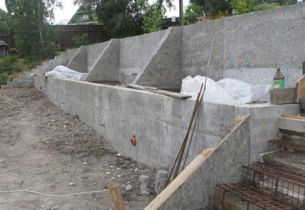 Контрфорсная конструкция подпорной стены