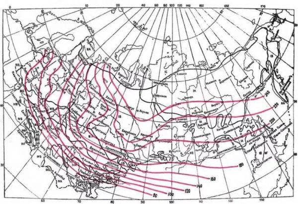 Карта промерзания грунта